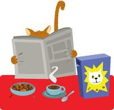 Завтрак кота бесплатная иллюстрация