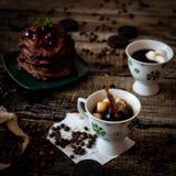 Завтрак: кофе, блинчики шоколада Стоковая Фотография