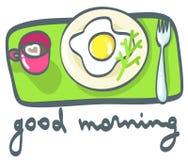 Завтрак: кофе и яичницы также вектор иллюстрации притяжки corel Стоковые Изображения RF