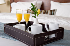 завтрак кровати Стоковые Изображения RF