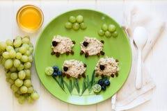 Завтрак младенца здоровый: овцы овсяной каши украсили ягоды Стоковое Изображение RF