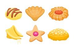 Завтрак различного печенья домодельный печет изолированные торты и хлебопекарню десерта вкусного печенья печенья закуски очень вк иллюстрация штока