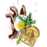 Завтрак, рука нарисованная иллюстрация вектора, Стоковые Фото
