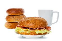 Завтрак сандвича бейгл ветчины и сыра Стоковое фото RF