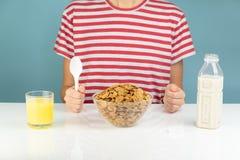 Завтрак со всеми хлопьями, молоком и соком зерна иллюстративно стоковые фотографии rf