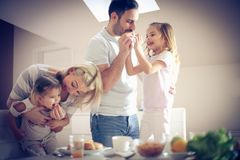 завтрак счастливый Стоковая Фотография