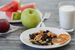 Завтрак с высушенными плодами и молоком стоковые фото