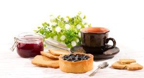 Завтрак с тортом черники Стоковое Изображение RF
