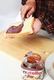 Завтрак с хлебом и nutella стоковые фото
