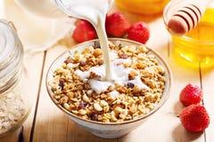 Завтрак с muesli и плодоовощами Стоковая Фотография RF