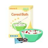 Завтрак установил - молоко, хлопья, granola, ягоды Здоровая еда внутри иллюстрация штока