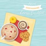 Завтрак энергии позволил старту ` s доброе утро Крупный план каши овсяной каши с ягодами, печеньями шоколада, кофе с пеной, appl Стоковые Фото