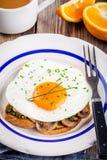 Завтрак: яичница с грибами и pesto на здравице Стоковые Фото