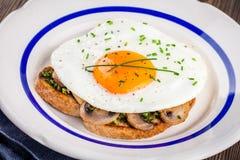 Завтрак: яичница с грибами и pesto на здравице Стоковая Фотография RF