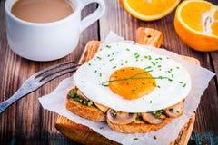 Завтрак: яичница с грибами и pesto на здравице Стоковое Изображение RF