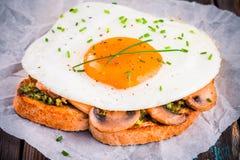 Завтрак: яичница с грибами и pesto на здравице Стоковые Изображения RF