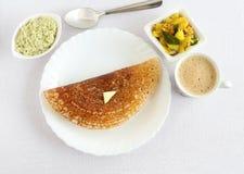 Завтрак Masala Dosa южный индийский вегетарианский Стоковое Фото