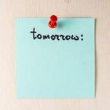 Завтра примечание на бумажном столбе оно Стоковая Фотография