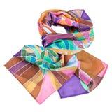Завязанный коричневый, фиолетовый, зеленый batic silk шарф Стоковое Фото
