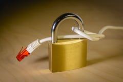 завязанный сетчатый кабель вокруг padlock Стоковая Фотография