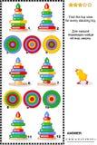 Загадка изображения взгляд сверху находки при кольцо штабелируя игрушки Стоковая Фотография RF