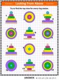 Загадка изображения взгляд сверху находки при кольцо штабелируя игрушки иллюстрация вектора