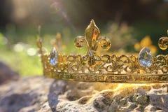 загадочное и волшебное фото кроны короля золота над камнем в ландшафте древесин или поля Англии со светлым пирофакелом средневеко стоковые изображения