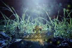 загадочное и волшебное фото кроны короля над камнем в ландшафте древесин или поля Англии со светлым пирофакелом средневеково стоковые изображения rf