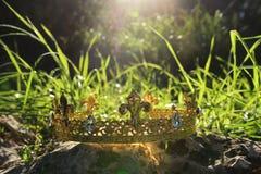 загадочное и волшебное фото кроны короля над камнем в ландшафте древесин или поля Англии со светлым пирофакелом средневеково стоковая фотография rf