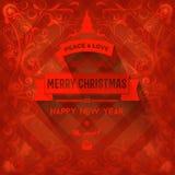 Загадочная красная элегантная поздравительная открытка рождества Стоковая Фотография