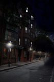 Загадочная ноча Scence, историческая улица Бостон Стоковые Фото