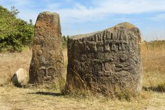 Загадочные megalithic штендеры Tiya, место всемирного наследия ЮНЕСКО, Эфиопия стоковая фотография