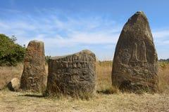 Загадочные megalithic штендеры Tiya, место всемирного наследия ЮНЕСКО, Эфиопия стоковое фото rf