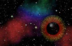 загадочный взгляд Волшебный глаз Панорамный смотреть в глубокий космос Темное ночное небо вполне звезд Стоковая Фотография RF