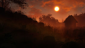 Загадочный заход солнца ландшафта иллюстрация вектора