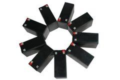 Загерметизированные свинцовокислотные батареи на белой предпосылке Стоковое Фото