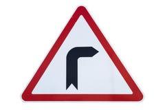 Загиб ` дорожного знака к правому ` изолированному на белизне Стоковое фото RF