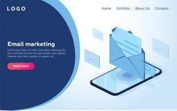 Заголовок для вебсайта homepage Концепция мобильного notificati электронной почты иллюстрация вектора
