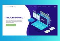 Заголовок для вебсайта homepage Концепция развития сети, программируя и кодируя иллюстрация штока