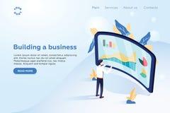 Заголовок для вебсайта homepage Стратегия и планирование Финансовый обзор Бизнесмен стоя перед экраном иллюстрация штока