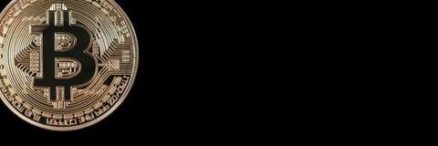 Заголовок знамени Bitcoin белизна вектора золота монетки предпосылки изолированная иллюстрацией Cryptocurrency с космосом для Стоковое Изображение RF