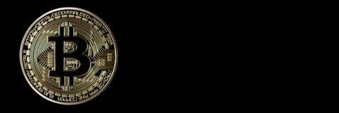 Заголовок знамени Bitcoin белизна вектора золота монетки предпосылки изолированная иллюстрацией Cryptocurrency с космосом для Стоковое Изображение