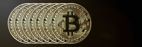 Заголовок знамени Bitcoin белизна вектора золота монетки предпосылки изолированная иллюстрацией Cryptocurrency с космосом для Стоковая Фотография RF