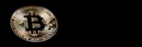 Заголовок знамени Bitcoin белизна вектора золота монетки предпосылки изолированная иллюстрацией Cryptocurrency с космосом для Стоковое фото RF