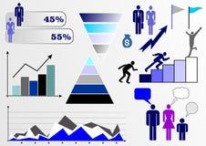 ?????????: Ejemplo del vector con infographics: gente, negocio, finanzas, gráficos y cartas, y diversas figuras ilustración del vector