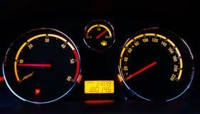загоранная автомобилем панель ночи аппаратуры Стоковые Изображения