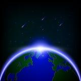Загораться галактики глобальный и метеорный поток, illustratio вектора Стоковые Фото