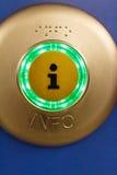 Загоренная зеленая кнопка информации Стоковые Изображения