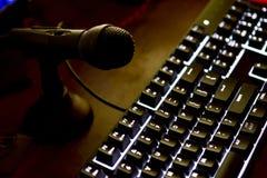 Загоренная клавиатура компьютера с mic Стоковые Фото