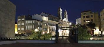 Загоренное concathedral города Виго на ноче стоковые изображения rf